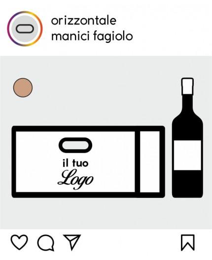 Shoppers Porta Bottiglie Orizzontale Personalizzate - Manico Fagiolo