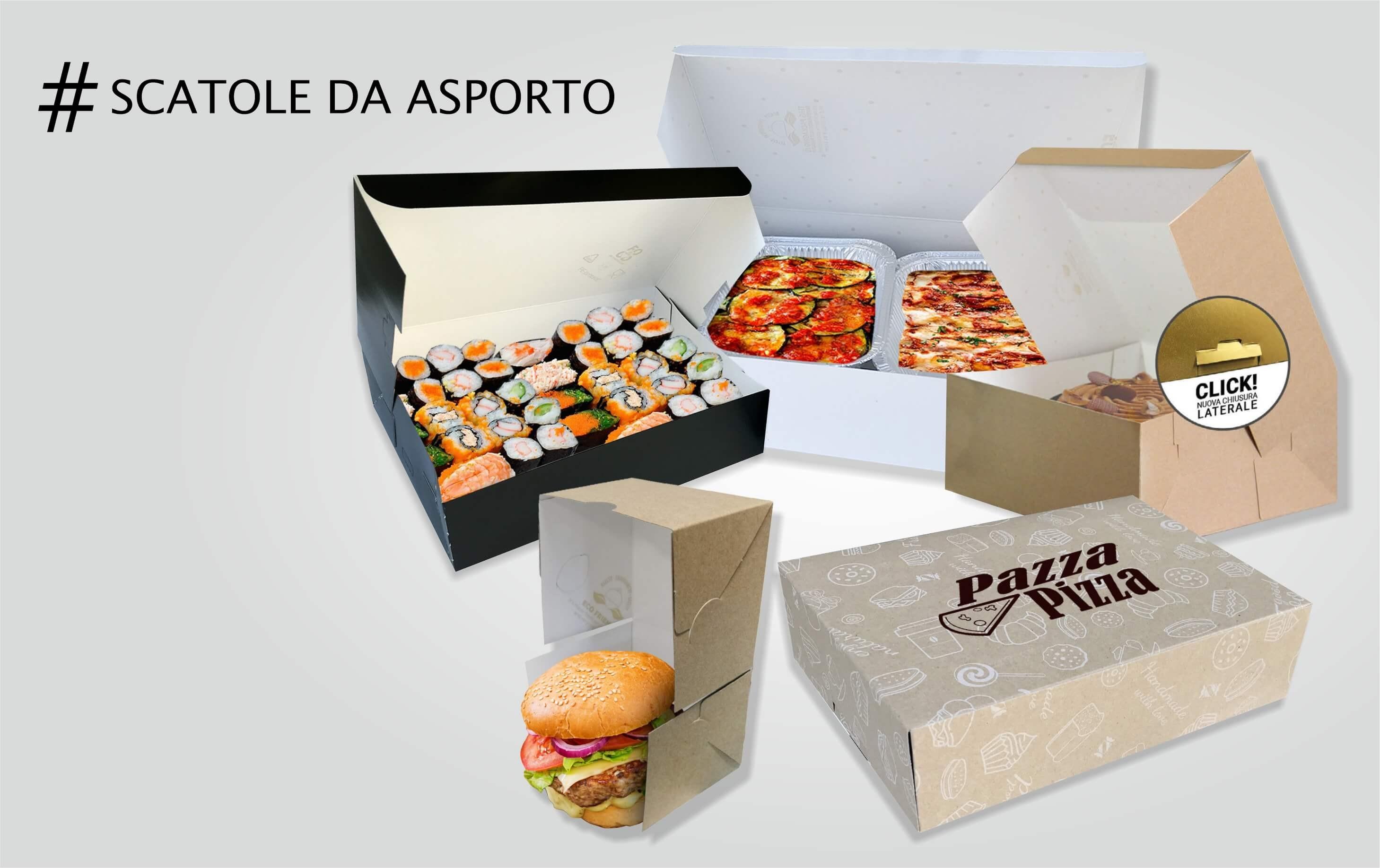 scatole asporto alimentare e porta hamburger